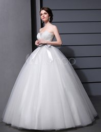 Wholesale 2015 New Fashion simple Ball Gown Wedding Dresses Sweetheart Backless Sashes Pleat Sequins Beaded Floor Length Tulle Bridal Gowns Cheap