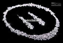 Wholesale 2015 Twinkle Plated crystal wedding bridal jewelry sets rhinestone Allloy plated necklace and earrings piece NE037 Sample in free s