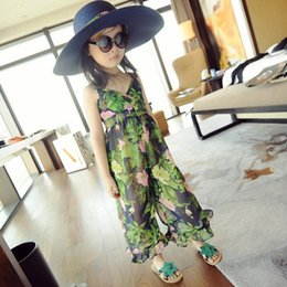 Wholesale 2015 Summer New Arrival Kids Jumpsuits Hot Sale Lovely Casual Sets with Printed Flowers Children s Casual Trousers