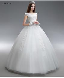 Wholesale Princess Capped Sleeve Ball Gown Wedding Dresses Lace Appliques Floor Length Bride Wedding Gowns Lace Up Back Bridal Dresses