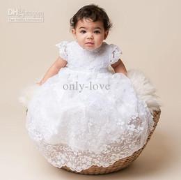 Wholesale White A Line Chrisom Baby Infant Christening Dresses Jewel Short Sleeves Ruching Lace Ruffles Matching Hat Floor Length Flower Girl Dresses
