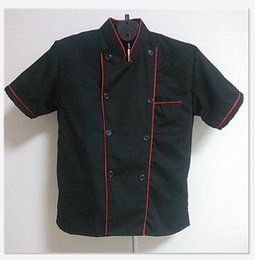 Wholesale Short Sleeve Classic Kitchen Cook Chef Waiter Waitress Coat Uniform Jacket Black color Red RIB Ideal for the professional kitchen