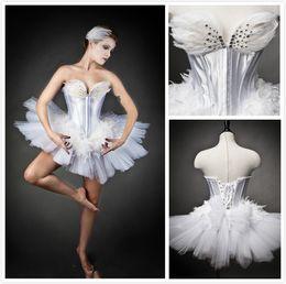 Wholesale Custom Unique White Swan Ballet Costume Burlesque tutu Strapless Beads Feather Ballet Costume Mini Prom Dresses Christmas Party Dresses
