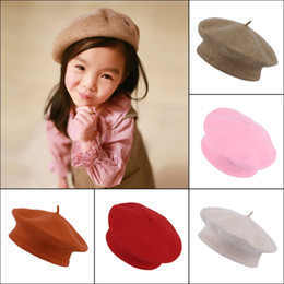 Wholesale Children Girls Wool Beret Hats Korea Preppy Style Kids Autumn Winter Casual Caps Type Available ERJ