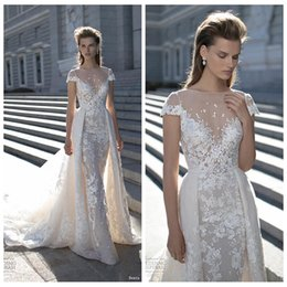 Wholesale 2016 New Berta Sheer Shoulder Lace Appliques Mermaid Wedding Dresses Beading Custom Modern Ladies Bridal Gowns New Vestidos De Novia