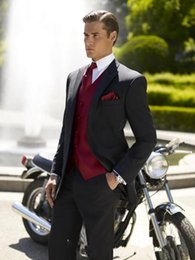 Wholesale Two black fashion new custom button single breasted gentleman dress incision lapel the groom holds the wedding dress