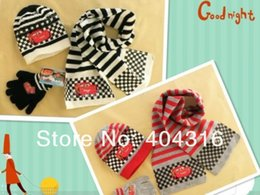Wholesale Retail one set baby boys winter fashion gloves kids hat sets Knitted hat cartoon scarve Gloves cotton caps