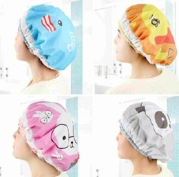 Wholesale 1Pc Cute Cartoon Animal Pattern Lace Womens Waterproof Shower Shampoo Bath Caps