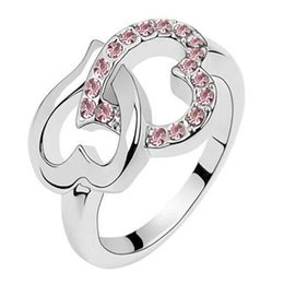 Wholesale Crystal ring lover cluster rings high quality charm jewelry wedding ornament ring gift