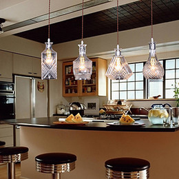 wholesale bottle design american country style led pendant light hanging lamp with 4 lights for bar artistic glass blowing artistic lighting and designs