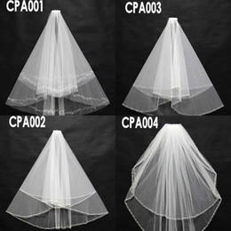 Wholesale Bridal Accessory In stock Real Images Bridal Wedding Veils Four Styles Crystals Beading Short Beach Formal Wedding Veils CPA001