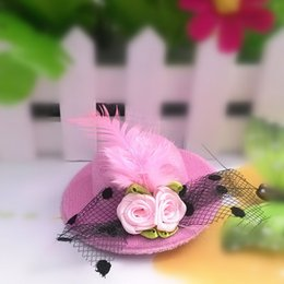 Wholesale 2015 New Mixed Color Feather Small Hat Hairpin Hair Accessories for Women Girl TS0028