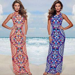 Wholesale Fashion Sexy Women Floral Slim Bodycon Dress Boho Summer Beach Long Maxi Dresses Sundress