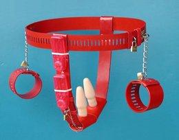 Wholesale Vibração anal vaginal cinto de castidade plugue com cinto de algemas castidade fetish shock brinquedos eróticos escravo do sexo brinquedo sexual para as mulheres para sexo entre adultos
