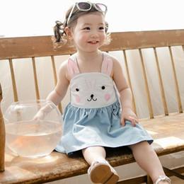 online shopping 2016 Summer new girls pure cotton suspender bunny dress baby girl rabbit slip denim blue princess dress for years choose size free ship