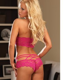 Wholesale Sexy Lingerie Hot Women Sexy Dress Lace Underwear Lady G string Clairvoyant Outfit One piece Red Black Pink Bra quality