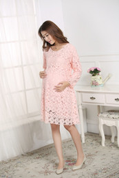Wholesale pregnant women summer long sleeve soft lace summer dress
