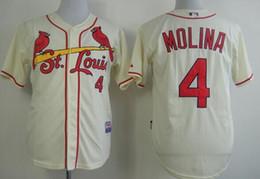online shopping Cardinals Molina magestic cool base cream color Baseball Jerseys Sports Jerseys Men Baseball Apparel Online Baseball Wears for Sale