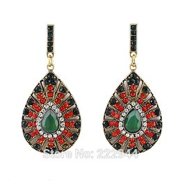 Wholesale Luxury Bijoux Round Rhinestone Vintage Green Red Color Statement Dangle Earrings for Women