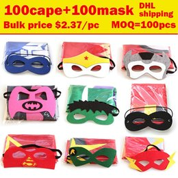 Wholesale kids Superhero Cape with mask Superman Batman cape Ninja Turtles Spiderman Captain America Supergirl kids capes colors in stock