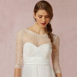 Wholesale Sexy Bolero Lace Wedding Jackets Custom High Quality Sheer Jewel Neck Long Sleeve Glamorous Backless Lace up Bow Bridal Wraps