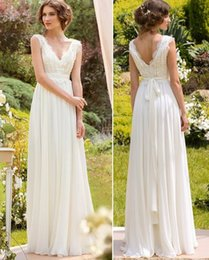 Wholesale 2016 Cheap Chiffon Boho Wedding Dresses Plus Size Modern With Cap Sleeves Beach Wedding Gowns Simple V Neck Pleated Bridal Gown With Sash