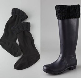Wholesale Hot New High Knitted Chunky Cable Cuff Fleece Welly Socks M L Size Fashion Women Girls Long Socks For Rainboots Many Colors