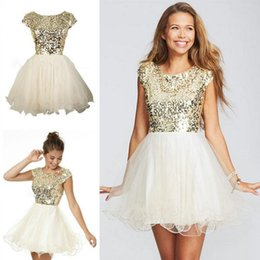 Wholesale Sparkly Sequins th Grade Graduation Dresses Champagne A Line Mini Short Sleeve Organza Jewel Prom Dresses Party Gowns Cheap Under