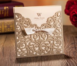 Wholesale 2015 Hot Laser Bow Cut Flower Wedding Invitation Cards Personalized Gold Hollow Wedding Cocktail Party Wedding Favors Printable Cards