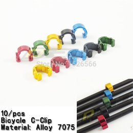Wholesale-10Pcs Bike cycling bicycle C Clip brake cable housing line Hose Guide red green blue blavk yellow cheap hose guide from hose guide suppliers