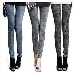 Preço de fábrica Moda feminina leggings falso denim jeans parece ladies 'skinny leggings lápis calças slim elástico stretchy jegging # 71056