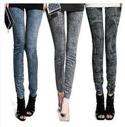 Precio de fábrica Las mujeres de moda legging falso pantalones de mezclilla de pantalones vaqueros de las damas flaco pantalones de lápiz de pantalones delgados esguince elástico jegging # 71056
