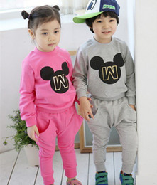 Wholesale children clothes spring boys girls new Korean models brand cartoon Minnie printing terry sweater Pants Piece suit set dandys