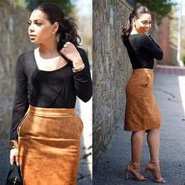 Wholesale 2016 new elegant women lady girl casual dress daily skirts suede front open with pockets skirts