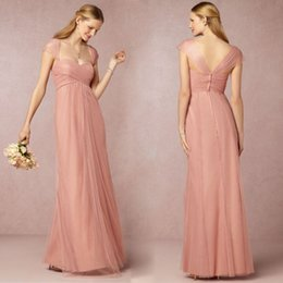 Wholesale Cap Sleeve Long Bridesmaid Cheap Dresses Different Styles Sheer Tulle Ruffle Floor Length Prom Dress Party Evening For Wedding