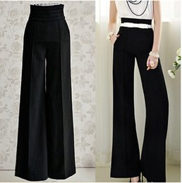 Wholesale Women Work Black Slim High Waist Flare Vintage Career OL Loose Wide Leg Long Pants Palazzo Trousers