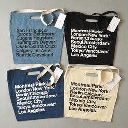 2017 deep shop AA vintage American Apparel blue woven cotton city bag with strap canvas letter Shopping Bag deep shop outlet