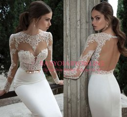 Wholesale 2015 Chic Long Sleeves Lace Sheath Wedding Dresses Crew Neck Formal Wedding Party Prom Gowns See Through Tulle Back Vestidos De Noiva BO3910