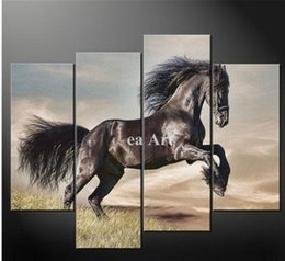 2016 Black White Horse Canvas Art 4 Piece Wall Art Painting On Canvas Black And White