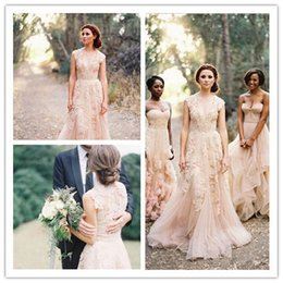 Wholesale 2015 Bohemian Vintage Lace Wedding Dresses Champagne Sweetheart Ruffles Capped With Sleeveless Plus Size Deep V neck Layered Bridal Gowns
