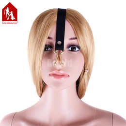 Wholesale Davidsource Unisex Golden Stainless Steel Nose Hook Force Rise Elastic Strap Adjustable Slave Training BDSM Bondage Gear Sex Toy