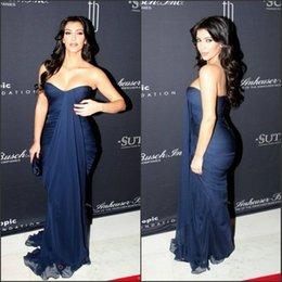 Wholesale Sweetheart Chiffon Long Navy Blue Evening Dresses for Women Fit Sheath Kim Kardashian Celebrity Dresses