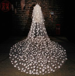 Wholesale New Three Meters Ivory Veils For Bride Wedding Long Veils In Stock High Quality Flower Appliques Charming Wedding Accessories
