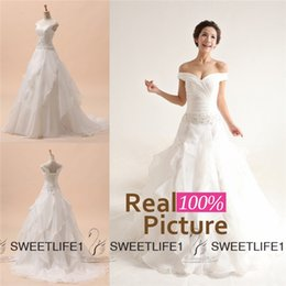 Wholesale 2015 IN STOCK Wedding Dresses Ivory Off Shoulder Lace up Back Organza Appliques Beads A Line Ruffles Chapel Train Garden Bridal Gowns