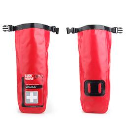 Venta caliente Bolso médico 2L Bolsa impermeable de primeros auxilios de emergencia Kits Vacío Viajes Petate Rafting acampar Kayak orden $ 18Nadie pista