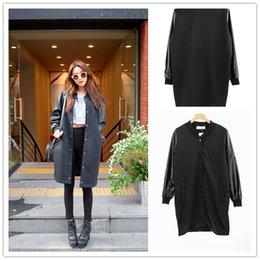 Wholesale Blazer Stylenanda Plus Size Loose Long Dust Coat PU Patchwork Female Baseball Uniform Black Outerwear
