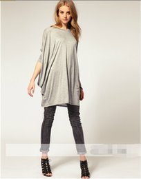 Wholesale 2015 women Oversized long sleeve T shirt lose cotton casual tops Free Epacket or HKpost shipping Product D223M