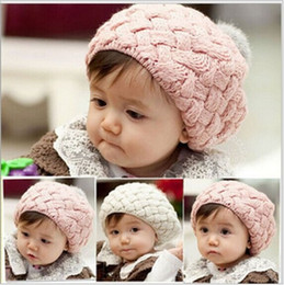 Wholesale Christmas Gift Baby hats Pom pom pink knit hat girls boys beanie winter toddler kids boy girl faux warm crochet cap M years children s