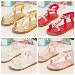 Wholesale 2015 fashion shoes baby sandals with Pearls Princess Shoes Kids Low heeled Flats colors DHL free MOQ SVS0015