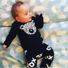 Wholesale New casual newborn baby boy clothes high quality baby girl clothing set cotton black long sleeve t shirt pants suits hight quyality f